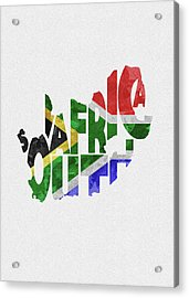 South Africa Typographic Map Flag Acrylic Print