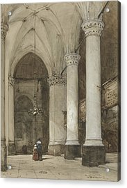 South Aisle Of The Grote Kerk In The Hague, With Seventeenth-century Figures Acrylic Print by Johannes Bosboom