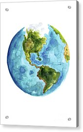 Planet Earth, South America Illustration, Watercolor World Map Painting Acrylic Print