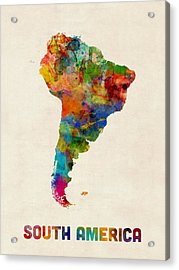 South America Watercolor Map Acrylic Print by Michael Tompsett