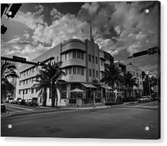 South Beach - Collins Avenue 001 Bw Acrylic Print by Lance Vaughn