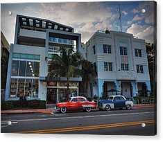 South Beach - Collins Avenue 002 Acrylic Print by Lance Vaughn