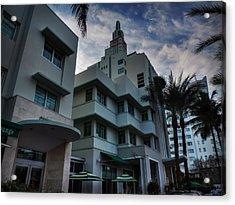 South Beach - Collins Avenue 004 Acrylic Print by Lance Vaughn