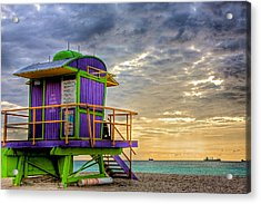 South Beach Dawn Acrylic Print by William Wetmore