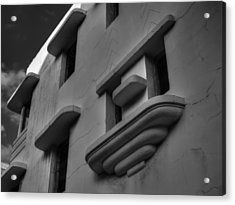 South Beach Deco Elements 001 Bw Acrylic Print by Lance Vaughn