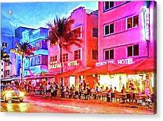 South Beach Neon Acrylic Print by Dennis Cox WorldViews