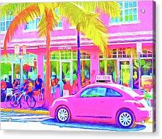 South Beach Pink Acrylic Print by Dennis Cox WorldViews