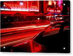 South Beach Red Acrylic Print by Brad Rickerby