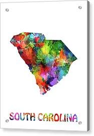 South Carolina Map Watercolor Acrylic Print