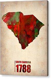 South Carolina Watercolor Map Acrylic Print by Naxart Studio