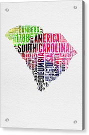 South Carolina Watercolor Word Cloud Acrylic Print by Naxart Studio