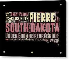 South Dakota Word Cloud 2 Acrylic Print by Naxart Studio