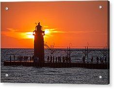 South Haven Michigan Sunset Acrylic Print by Adam Romanowicz