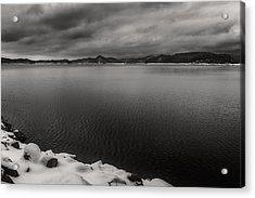 South Holston Snow Bandw Acrylic Print