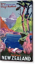 South Island New Zealand Vintage Poster Restored Acrylic Print
