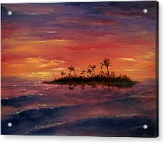 South Pacific Atoll Acrylic Print by Jack Skinner