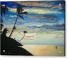 Acrylic Print featuring the painting South Sea Sunset by Norm Starks