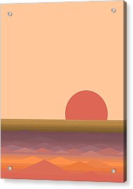 Acrylic Print featuring the digital art South Seas Abstract Sunrise - Vertical by Val Arie