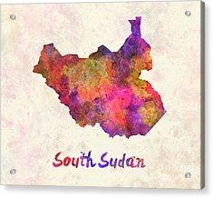 South Sudan In Watercolor Acrylic Print