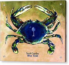 Southcarolina Blue Crab Acrylic Print by Eddie Glass