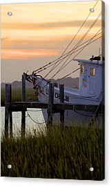 Southern Shrimp Boat Sunset Acrylic Print by Dustin K Ryan