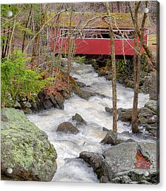 Southford Falls State Park Square Acrylic Print by Bill Wakeley