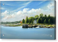 Southport Harbor Acrylic Print by John Deecken