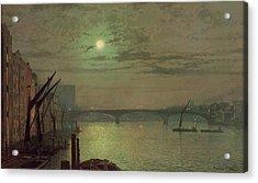 Southwark Bridge Acrylic Print by John Atkinson Grimshaw