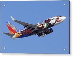 Southwest 737 Illinois One At Phoenix Sky Harbor December 2 2010 Acrylic Print by Brian Lockett