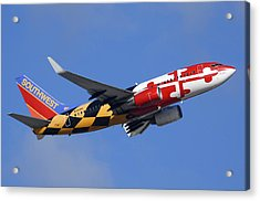 Southwest Airlines Boeing 737-7h4 N214wn Maryland One Phoenix Sky Harbor December 23 2010 Acrylic Print by Brian Lockett