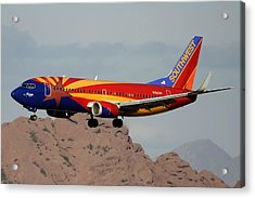 Southwest Boeing 737-3h4 N383sw Arizona Phoenix Sky Harbor December 20 2015  Acrylic Print by Brian Lockett