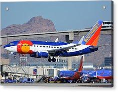 Southwest Boeing 737-7h4 N230wn Colorado One Phoenix Sky Harbor January 24 2016 Acrylic Print by Brian Lockett