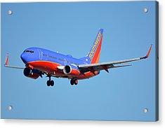 Southwest Boeing 737-7h4 N238wn Phoenix Sky Harbor January 17 2016 Acrylic Print by Brian Lockett