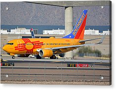Southwest Boeing 737-7h4 N781wn New Mexico Phoenix Sky Harbor January 17 2016 Acrylic Print by Brian Lockett