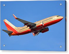 Southwest Boeing 737-7h4 N792sw Retro Gold Phoenix Sky Harbor January 21 2016 Acrylic Print by Brian Lockett