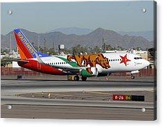 Southwest Boeing 737 California At Phoenix Sky Harbor November 10 2010 Acrylic Print by Brian Lockett