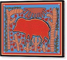 Acrylic Print featuring the digital art Southwest Desert Wart Hog by Vagabond Folk Art - Virginia Vivier