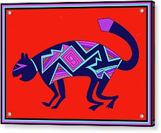 Acrylic Print featuring the digital art Southwest Mimbres Feline by Vagabond Folk Art - Virginia Vivier
