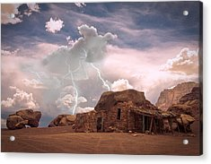 Southwest Navajo Rock House And Lightning Strikes Acrylic Print by James BO  Insogna