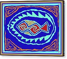 Acrylic Print featuring the digital art Southwest Pescado by Vagabond Folk Art - Virginia Vivier