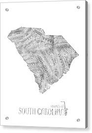 Soutih Carolina Map Music Notes Acrylic Print