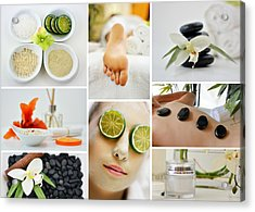 Spa Massage Facial Collage Acrylic Print
