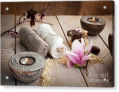 Spa Acrylic Print by Mythja  Photography