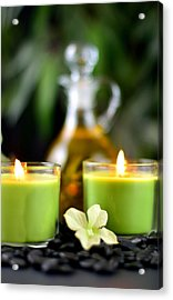 Spa Rocks And Candles Acrylic Print by Serena King