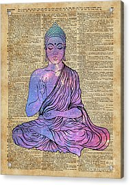 Space Buddha Dictionary Art Acrylic Print by Joanna and Jacob Kuch