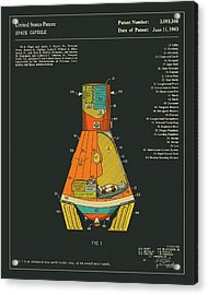 Space Capsule Patent 1963 Acrylic Print by Jazzberry Blue