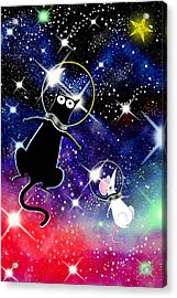 Space Cat Acrylic Print by Andrew Hitchen