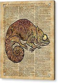Space Chameleon Zentagle Dictionary Art Acrylic Print