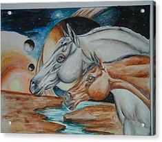 Space Horses  Acrylic Print by Andrea  Darlington