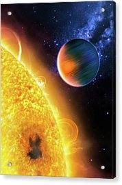 Acrylic Print featuring the photograph Space Image Extrasolar Planet Yellow Orange Blue by Matthias Hauser